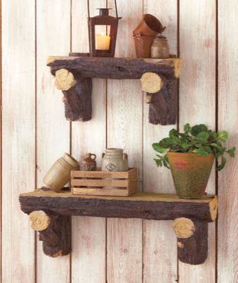 Lodge-log-shelves
