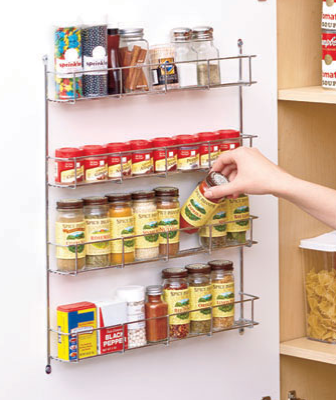 "This 4-tiered, wall-mounted Spice Rack is an economical space-saver that every kitchen needs. Metal rack fits in any decor and it's easy to mount with the included hardware. The 4 levels of storage let you keep all your spices in one place, along with other small bottles or containers. 19-5/8"" x 15-1/4"" x 2-1/8""."