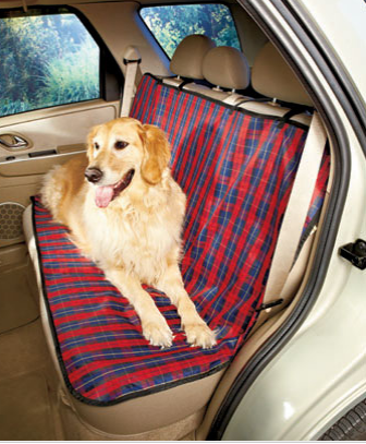 "A Fashion Car Seat Cover protects your vehicle's backseat and gives it a great new look. The waterproof Oxford fabric cover attaches easily with fabric-magic straps. It's an easy way to keep pet hair, claw marks, kids' messes and other dirt and stains from ruining your car's upholstery. Polyacrylate coating allows for easy, wipe-clean care. 55"" x 39-1/4"". Imported."