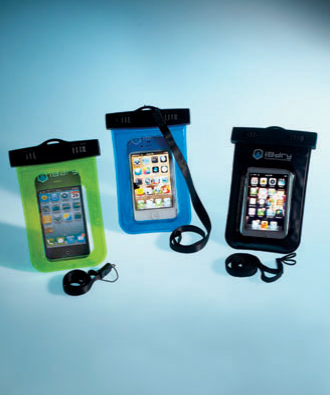"Durable Waterproof Cases for Smartphones or Tablets safeguard your valuable devices. The Smartphone Case (6""L x 4""W) fits most smartphones, including iPhone® 4/4S/5, as well as certain Droid®, Blackberry®, and other MP3 and media players. For both the Smartphone and Tablet Cases, the devices are fully functional while in the protective case, including access to the camera, phone, web, and texts and emails. The iPad® & Tablet Case fits the most popular tablets (up to 10"") on the market. The tablet case includes a dual-sided waterproof earphone jack that allows for privacy and use of the earphones."