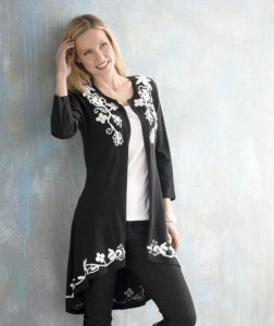 Embroidered Open Front Cardigan is a wonderful layering piece for your wardrobe.