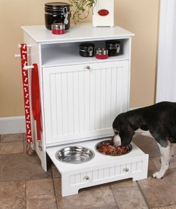 Pet Food Cabinet with Bowls is a handsome way to store your best friend's favorite food.