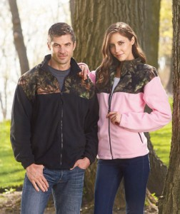 This comfortable fleece jacket will keep you warm on all your outdoor adventures. His and Hers Highland Timber Jackets feature woodsy camouflage detailing around the shoulder and collar that adds a fashionable touch to a basic fleece zip-up jacket.