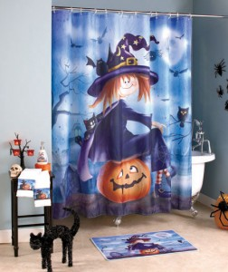 Bring your seasonal decor to the bathroom with this Halloween Witch Bath Ensemble.
