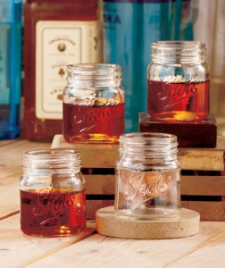 Share your favorite drink with a little countrified flair with this Set of 4 Mason Jar Shot Glasses.