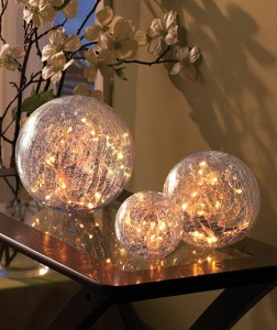 Use this Set of 3 Lighted Glass Balls to create ambiance in a room or shed a little light on a specific area.