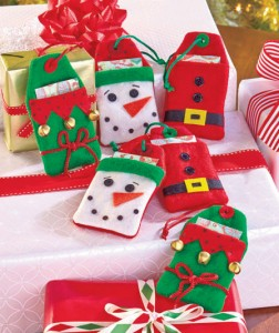 Set of 6 Felt Gift Card Holder Tags offers an easy way to wrap gift cards and cash presents.