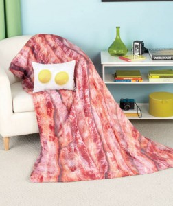 Make your bedroom or living space look crisp and delicious with a Bacon & Eggs Novelty Throw and Pillow.