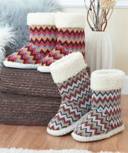 Knit Zigzag Print Boot Slippers take cozy to another level.