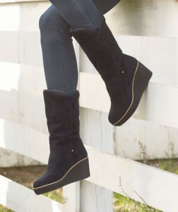 Step out in style with a pair of Women's Faux-Fur Lined Wedge Boots.