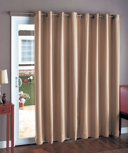 "At 112"" wide, this Blackout Patio Curtain covers a patio door or a pair of French doors."