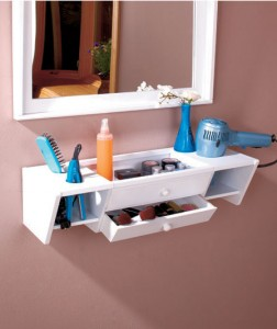 This wooden Ready-to-Go Vanity Shelf adds attractive storage and organization.