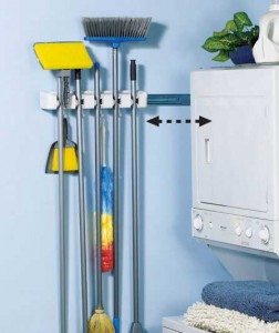 Mount the unique Store 'N' Slide™ in the pantry, laundry room, workshop or garage to store 5 long-handled items such as brooms, mops and dusters.