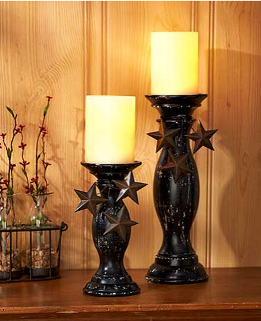 Set of 2 Star Pillar Candleholder