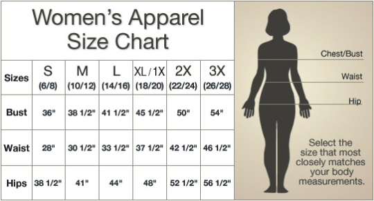 Size Chart for Women's Apparel