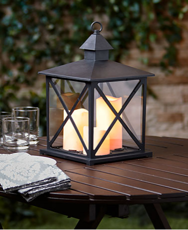 Garden Decorations - Outdoor Triple Candle Lantern with Timer