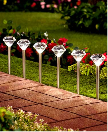 Garden Decorations - Set of 6 Diamond Solar Stakes