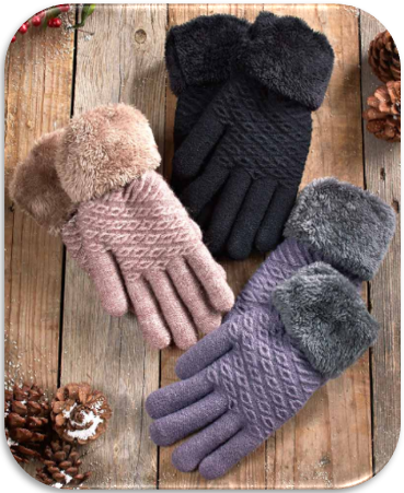Plush Lined Gloves with Faux Fur Cuffs