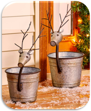 Set of 2 Reindeer Planters