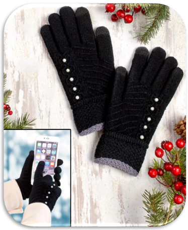Women's Text Gloves with Faux Pearl Buttons