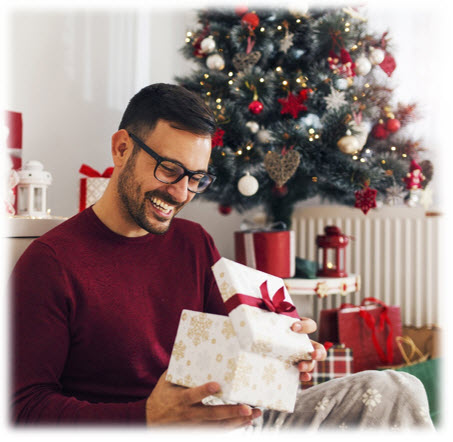 Gifts for Him - Man Opening Christmas Present