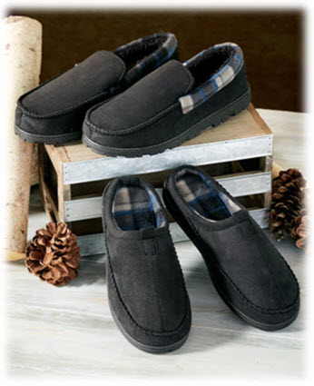 Men's Memory Foam Clog or Moccasin Slippers