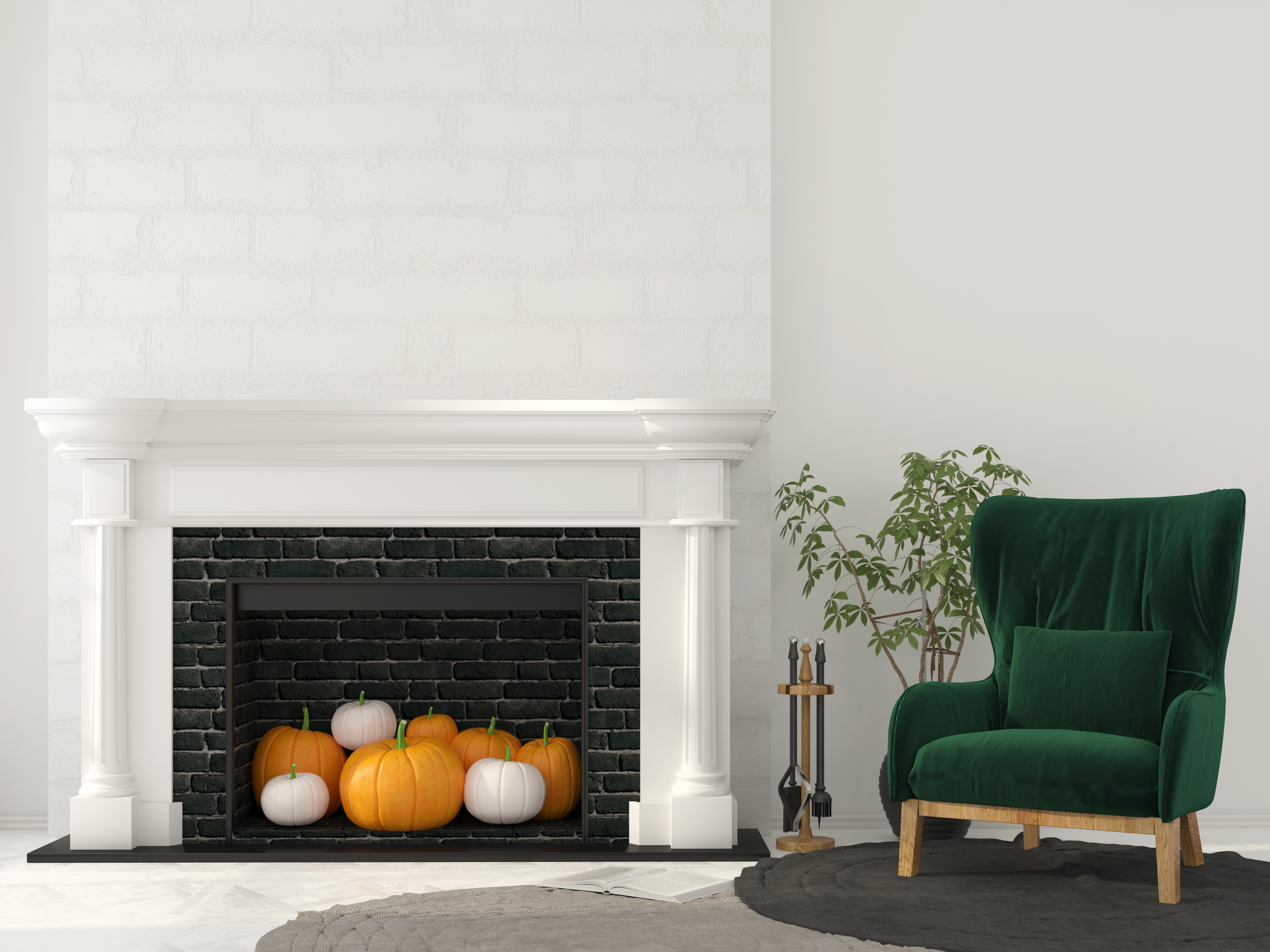 Interior decoration for Halloween. Classic fireplace with pumpkins inside and green armchair