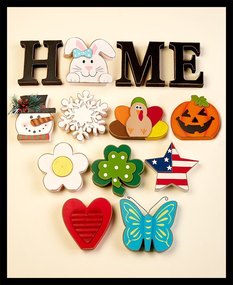Wooden Home Sign With Seasonal Icons
