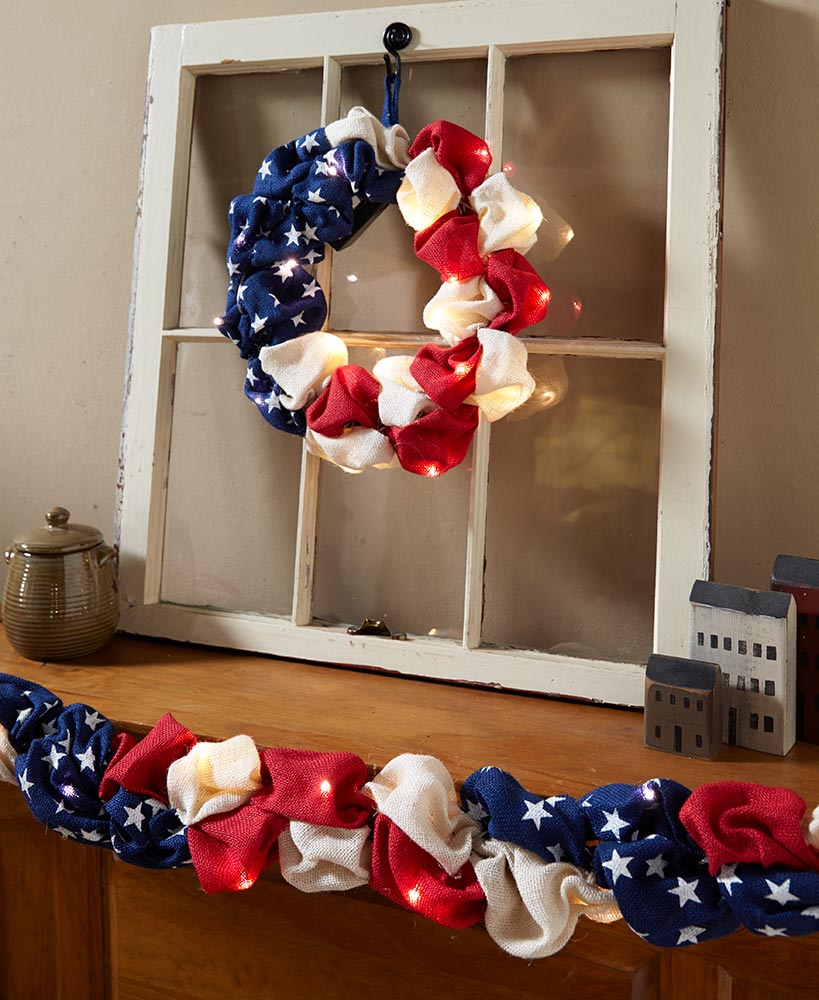 Primitive Decor Americana Wreath And Garland