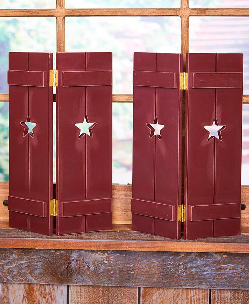 Primitive Decor Red Star Window Shutters