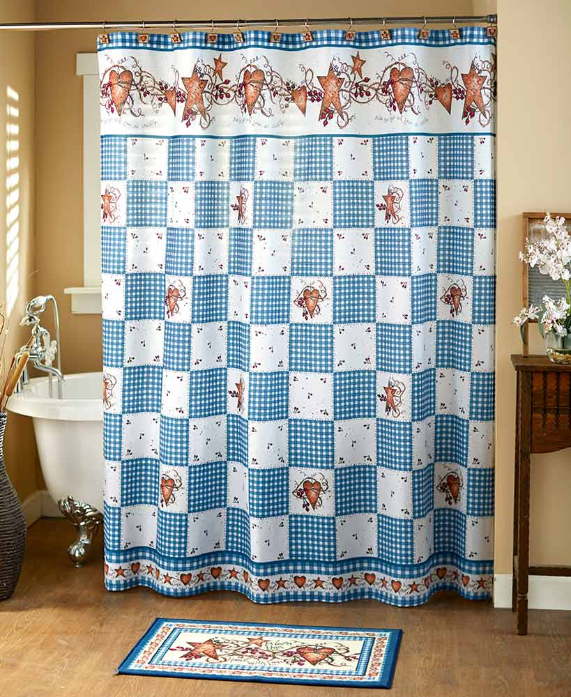 Primitive Decor Blue Hearts and Stars Checkered Shower Curtain
