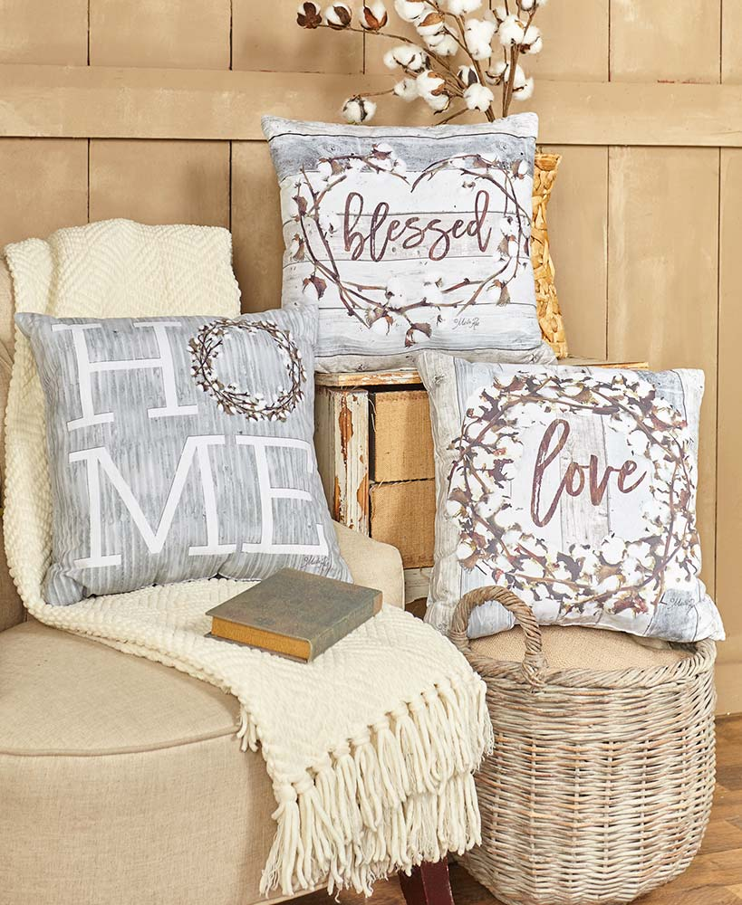 Cotton boll accent pillows