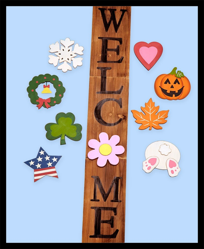 Wooden Welcome Sign With Holiday Icons