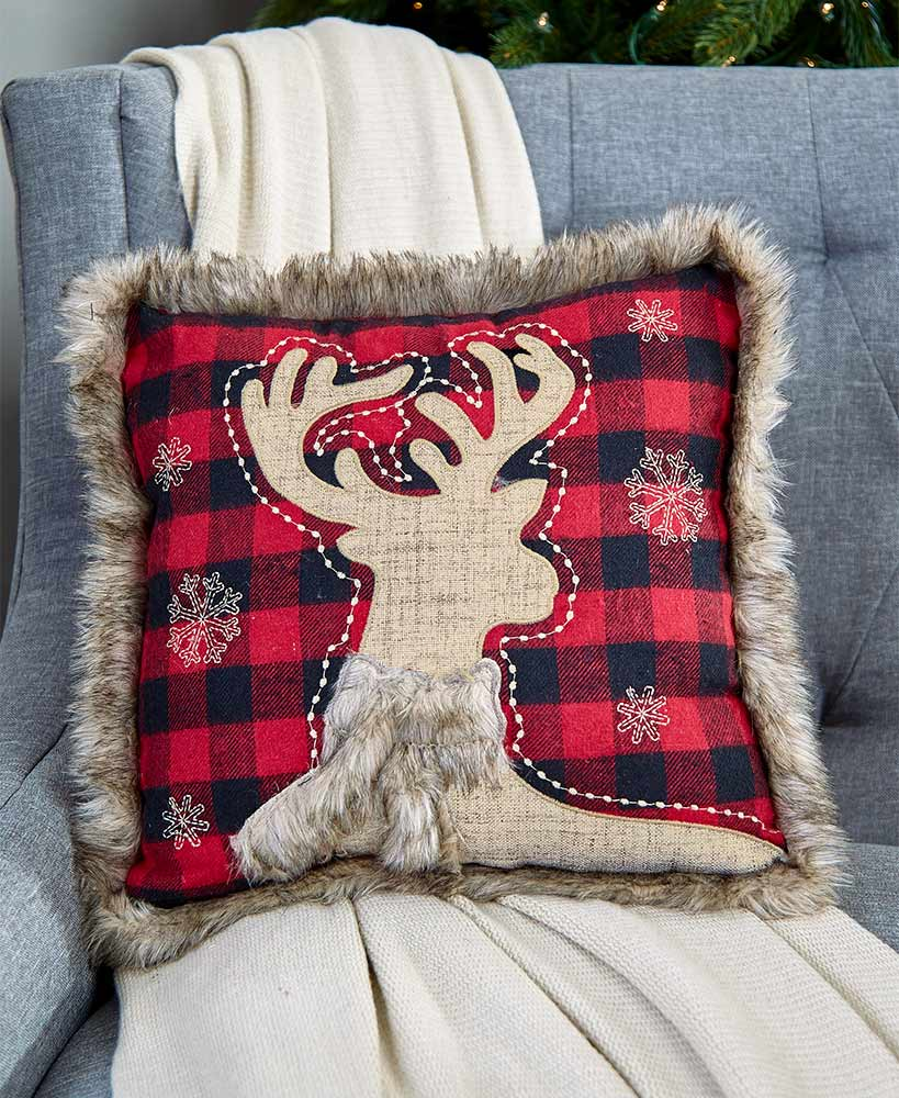 Reindeer faux fur plaid pillow