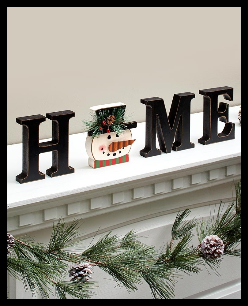 Wooden Home Sign With Snowman