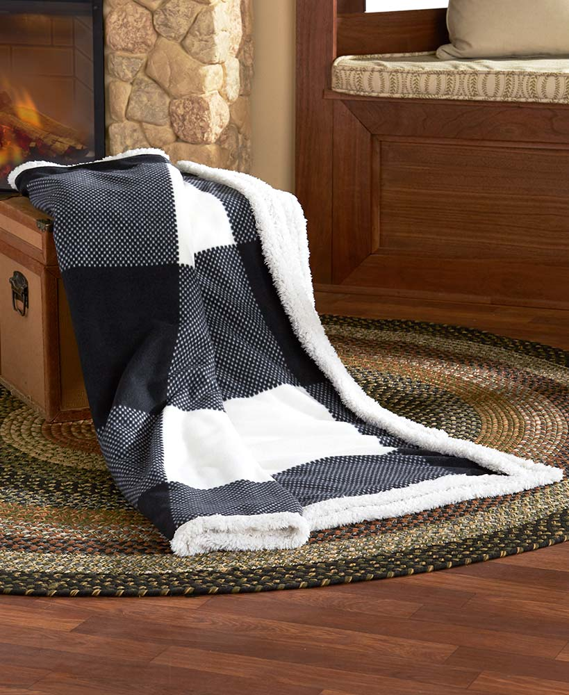Fleece and sherpa throw plaid