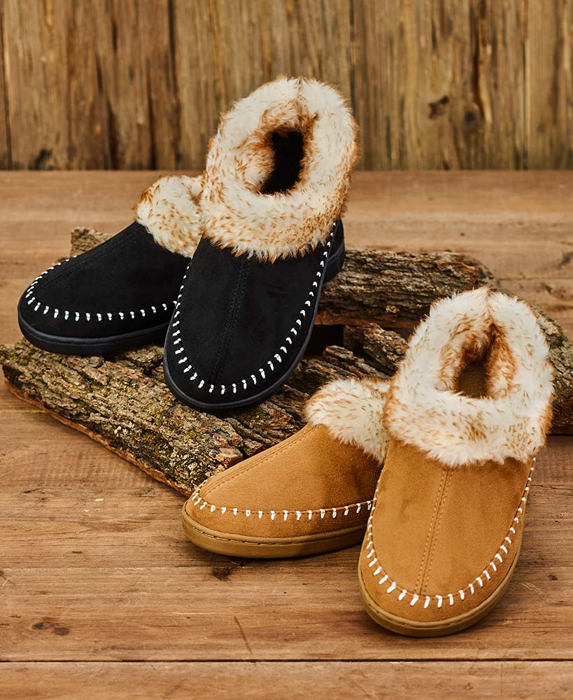 Mens furry suede moccasin slippers