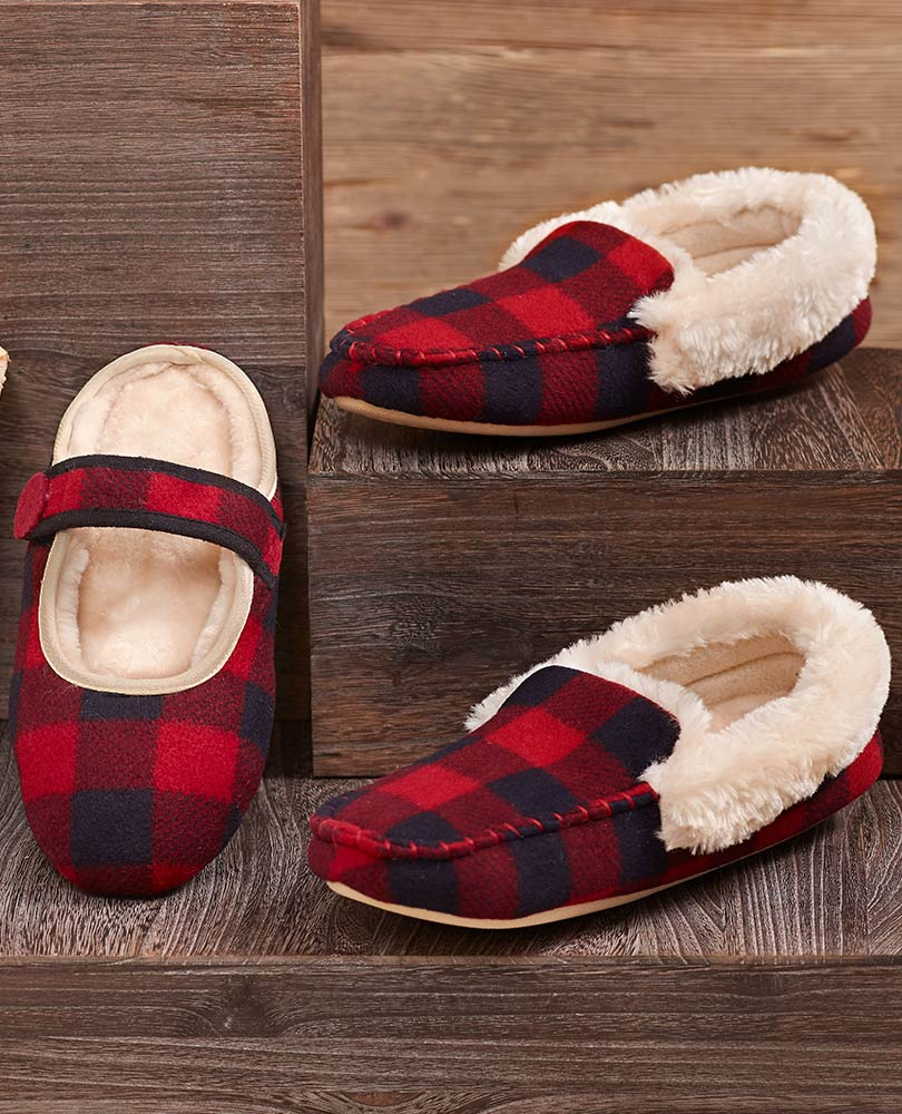 Buffalo plaid sherpa slippers