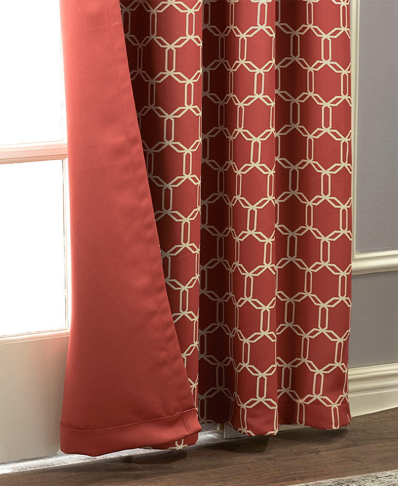 Red reversible darkening curtains