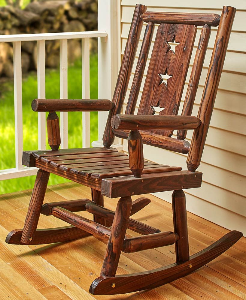 Country Primitive Decor Wooden Star Rocking Chair