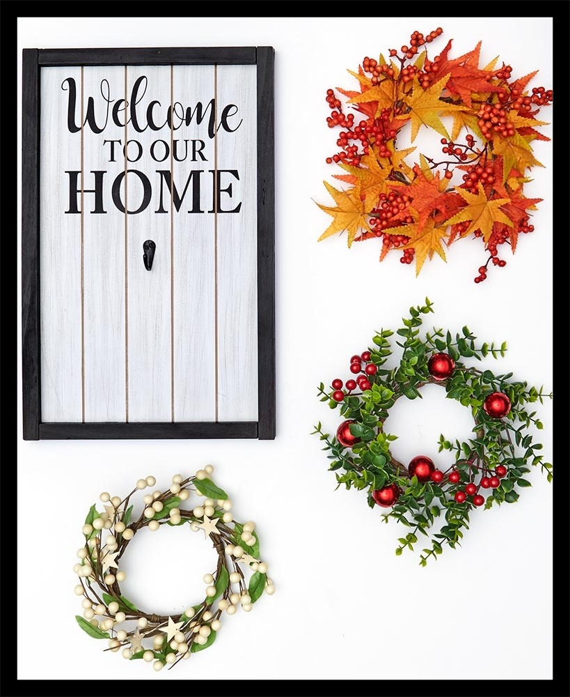Welcome Home Sign With Wreaths