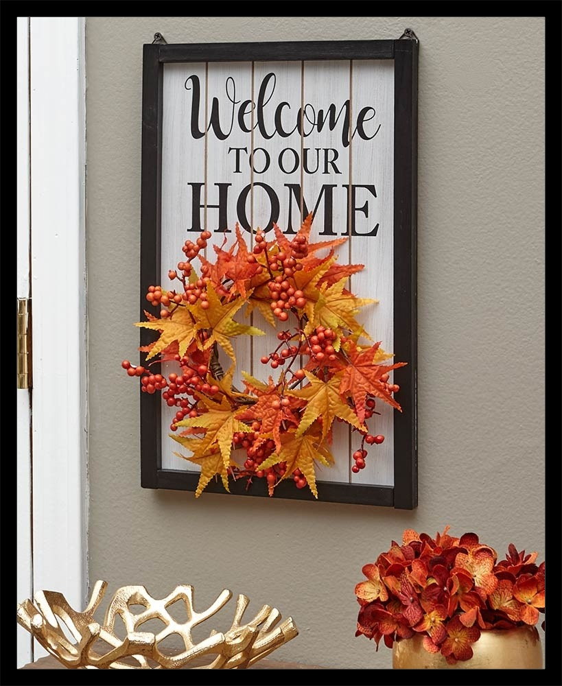 Welcome Home Sign With Fall Wreath