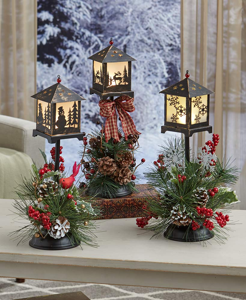 Christmas Lanterns With Flowers And Pinecones