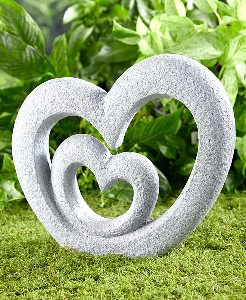 Stone Heart Garden Decor