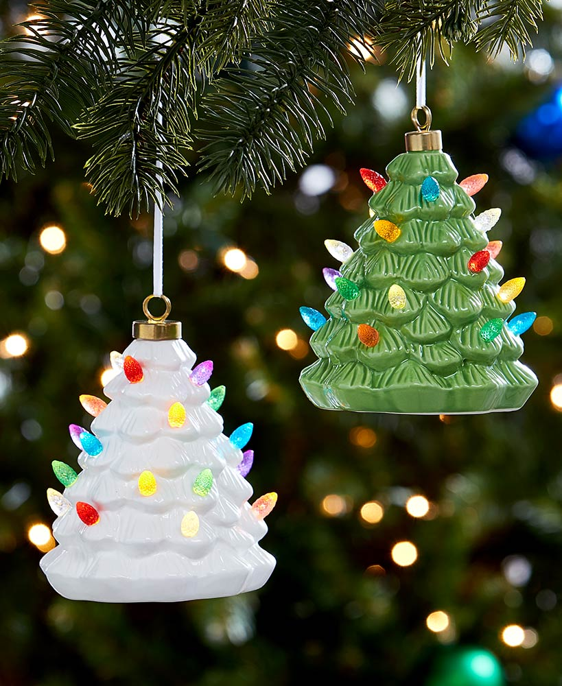 Lighted Retro Tree Christmas Ornaments