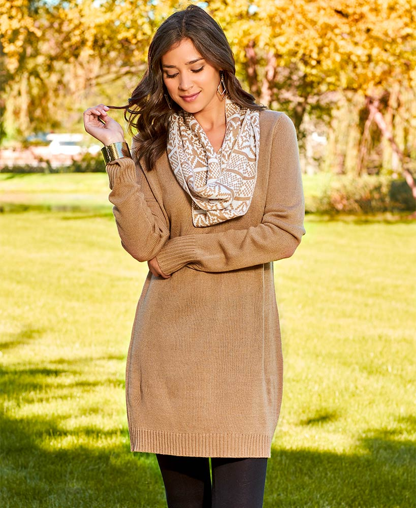 Brown Tunic Sweater and Scarf