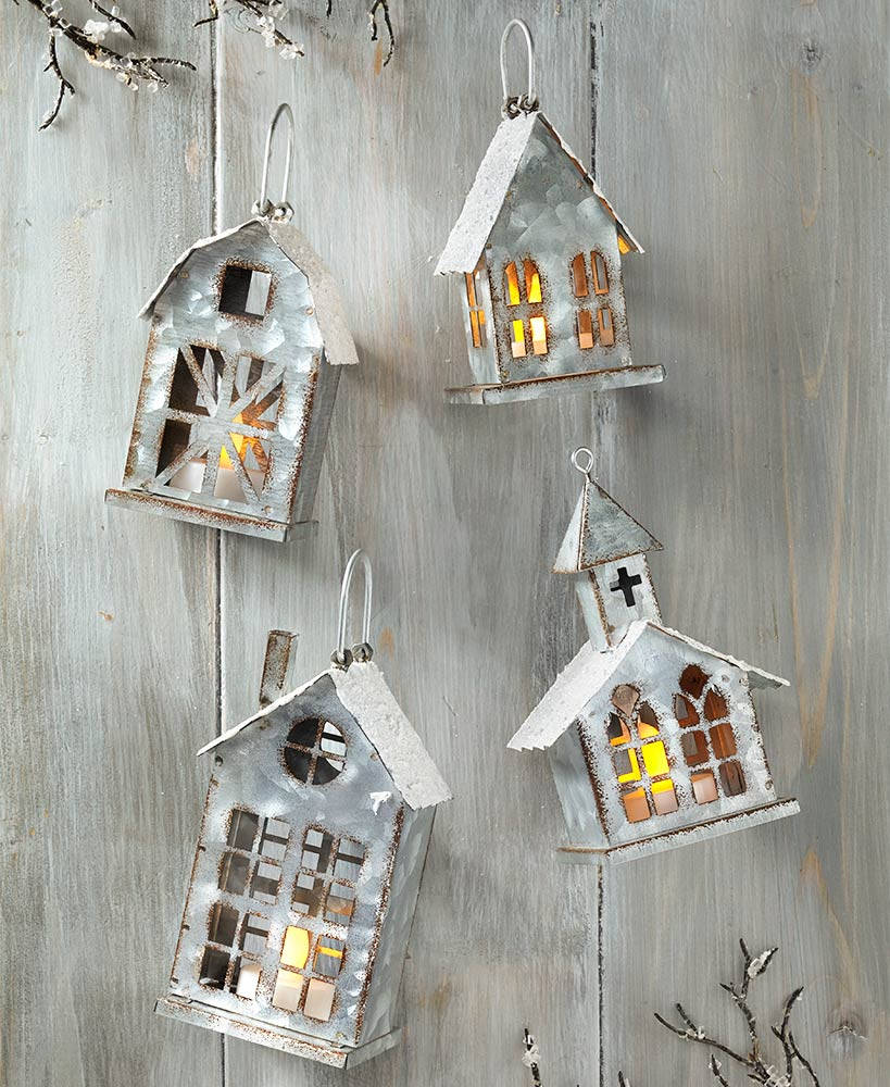 LED Galvanized House Ornaments