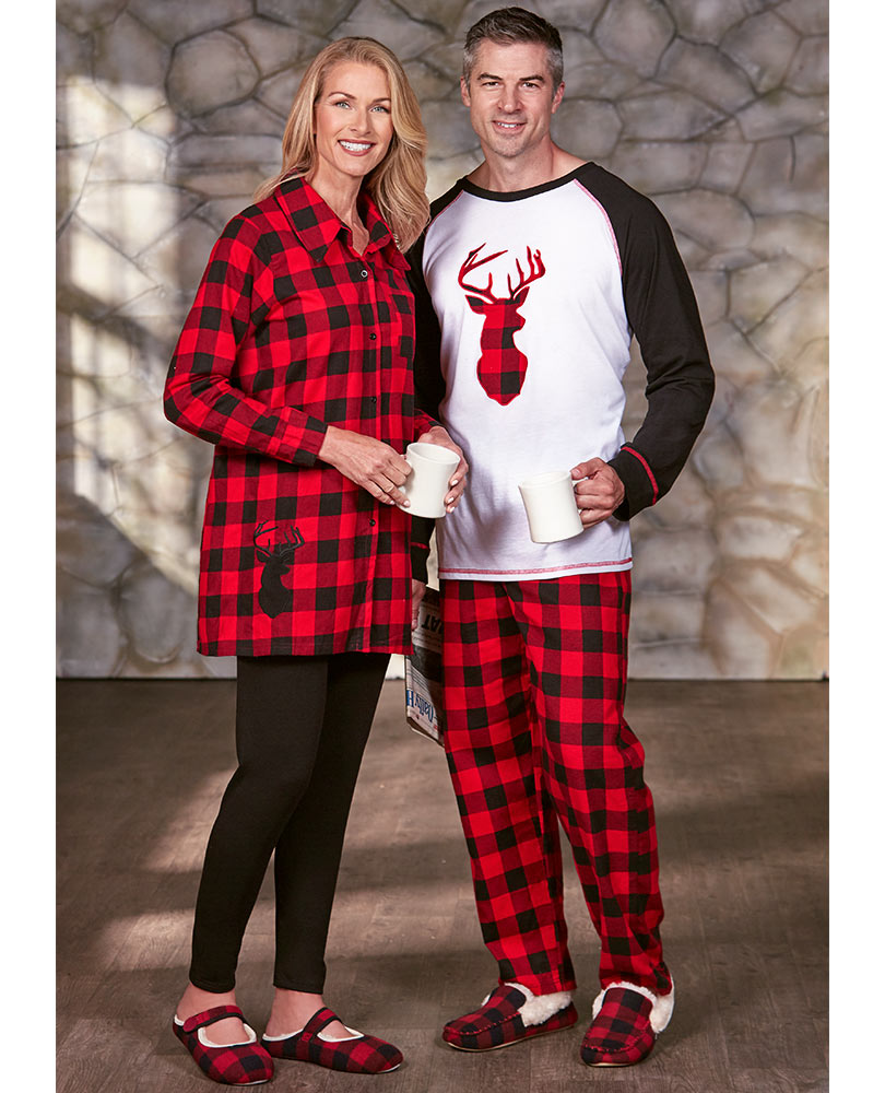 His Or Hers Buffalo Plaid Lodge Pajamas