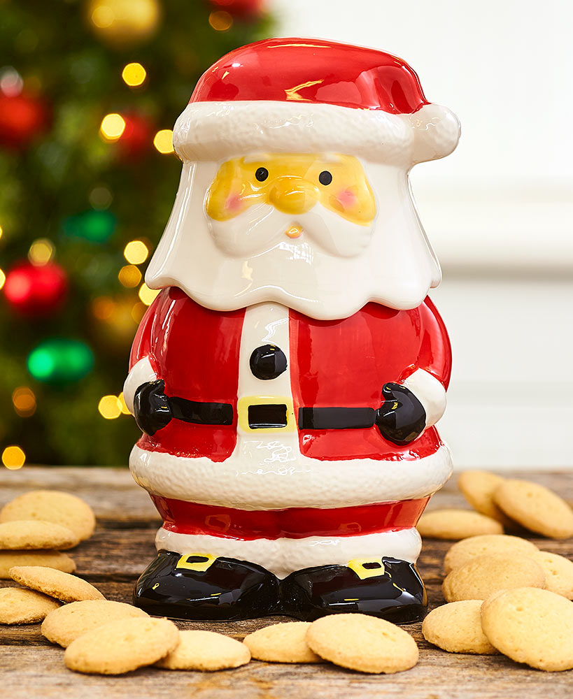 Santa Ceramic Cookie Jar With Cookies