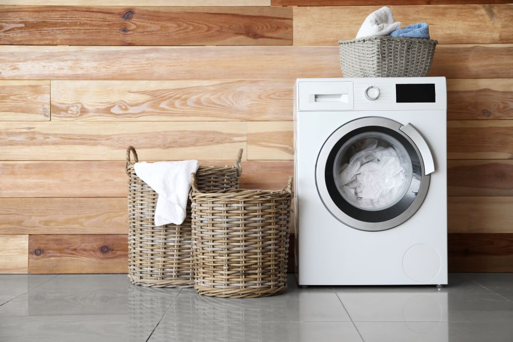 Organize A Laundry Room - Wicker Baskets In Laundry Room